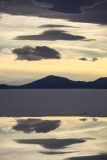 Sunset sky reflected in brine pools on the Salar (vertical)