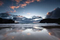 Beach reflections at sunset