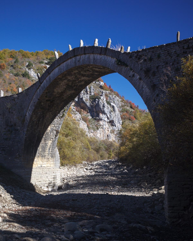 Arched bridge, backlit