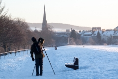 Setting up a winter photograph of Perth (photo by Carolyn Bell)