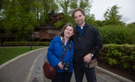 Mike and Carolyn in Alnwick Gardens (photo by a pro photographer we met)