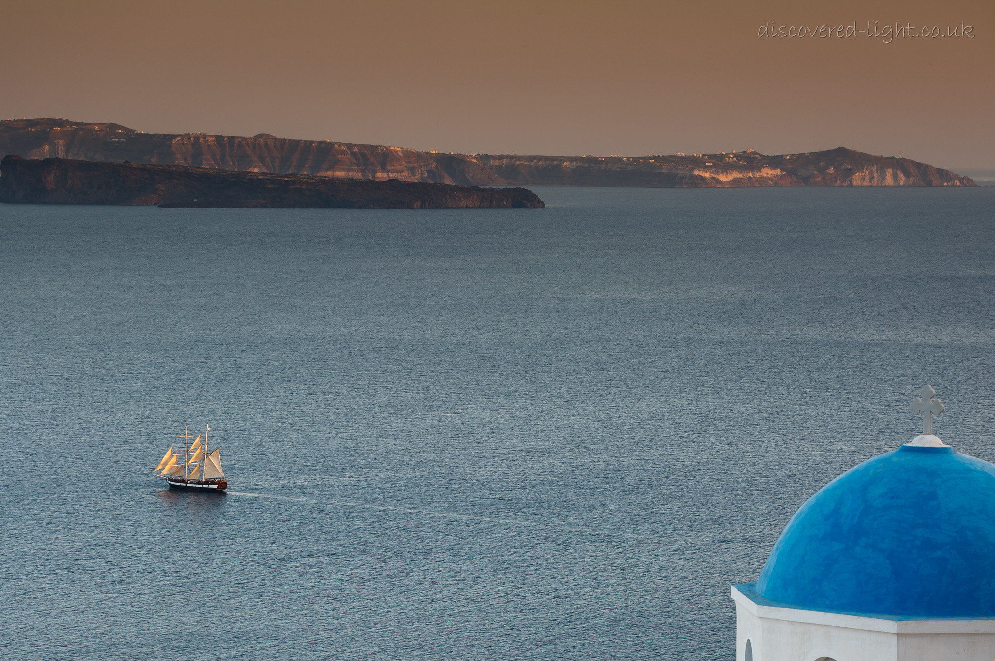 Sailing ship and blue dome