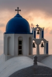 Sunset through chapel bell tower