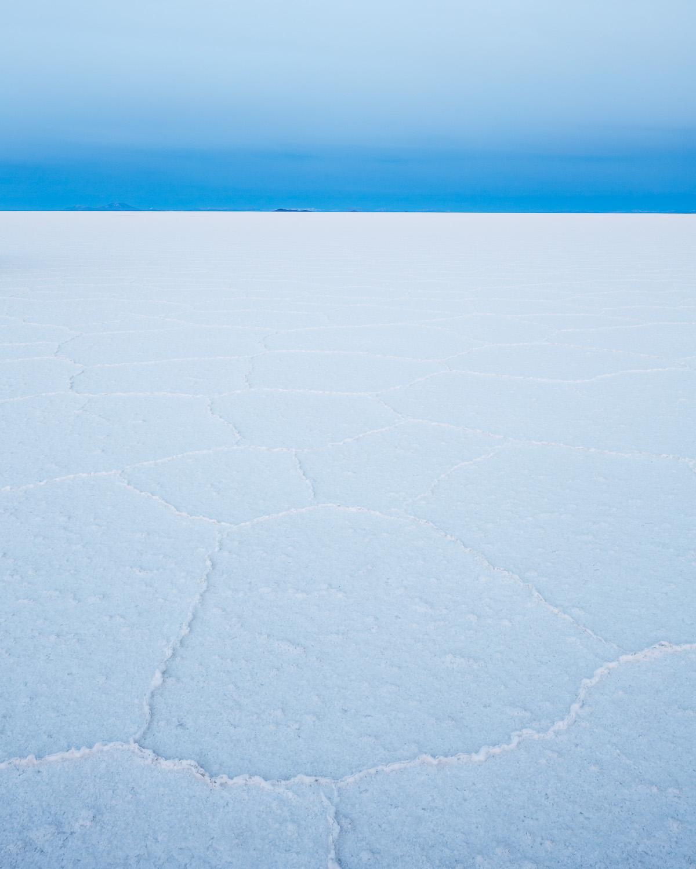 Hexagonal salt crystal formations on the Salar