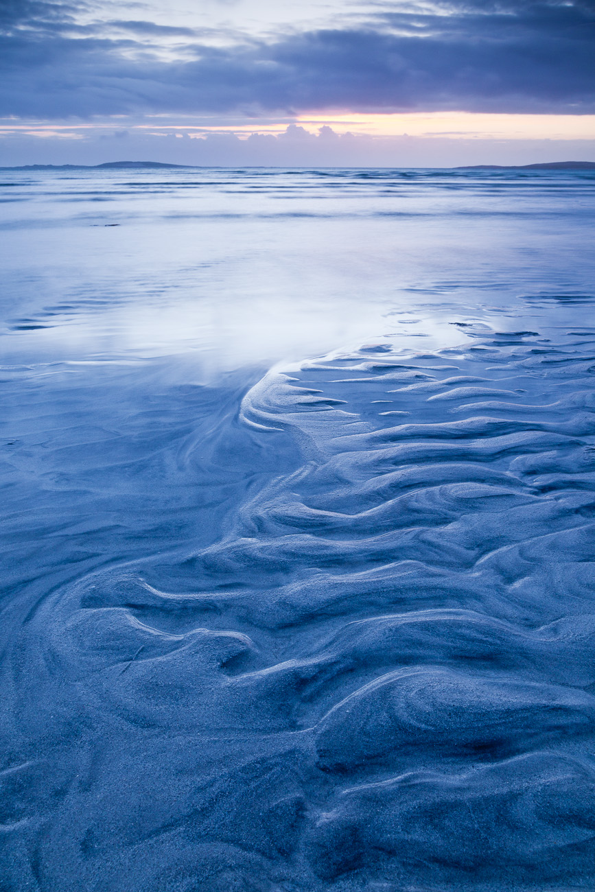 Beach patterns at sunset