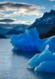 Peaked icebergs at Lago Grey